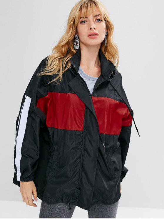online Oversized Hooded Zip Up Jacket - BLACK ONE SIZE