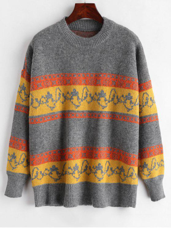 womens Loose Pullover Graphic Sweater - MULTI ONE SIZE