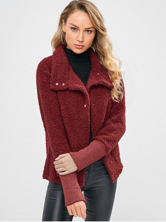 c59f55a30 Snap Button Faux Shearling Manteau Court