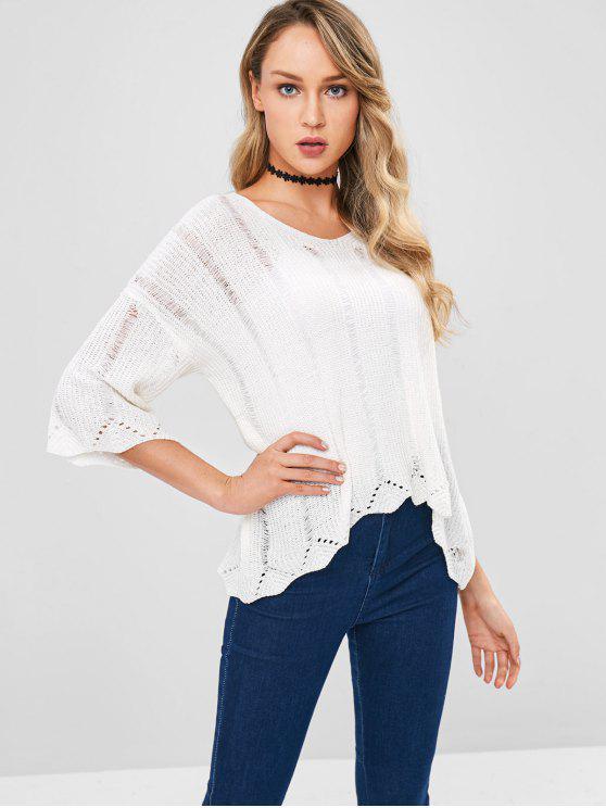 Lose Strick High Low Sweater - Weiß Eine Größe