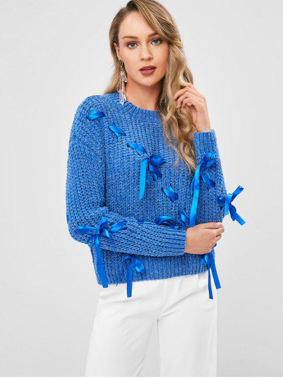 unique Chunky Lace Up Sweater - CORNFLOWER BLUE ONE SIZE