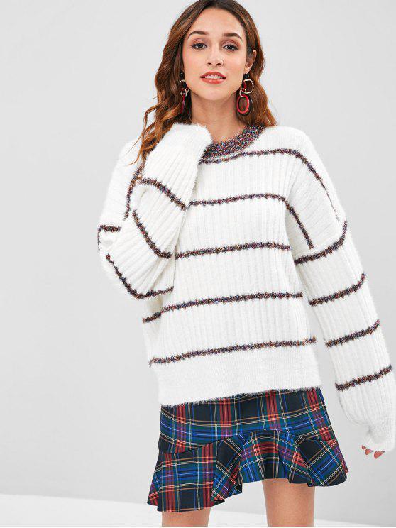 Suéter a rayas de gran tamaño - Blanco Única Talla