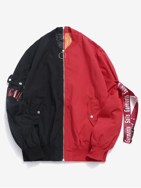 outfit Contrast Letter Stripe Zip Bomber Jacket - BLACK L