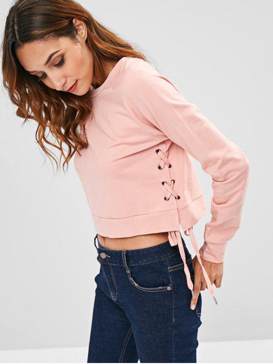 buy ZAFUL Round Neck Side Lace Up Sweatshirt - PINK M