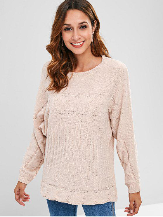 new ZAFUL Cable Knit Shining Detail Pullover Sweater - PINK ONE SIZE