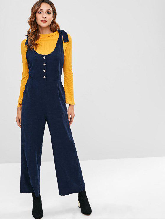 shop ZAFUL Knots Half Buttoned Wide Leg Jumpsuit - MIDNIGHT BLUE M