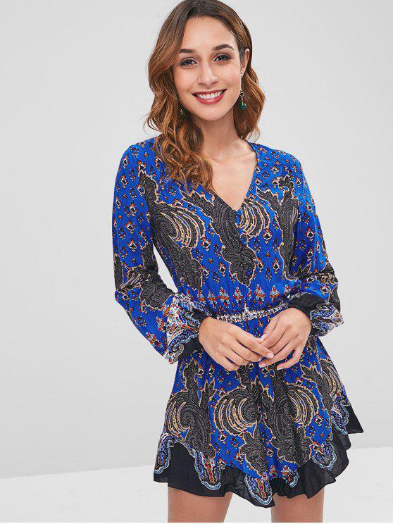 women's ZAFUL Long Sleeve Ruffles Printed Romper - ROYAL BLUE S
