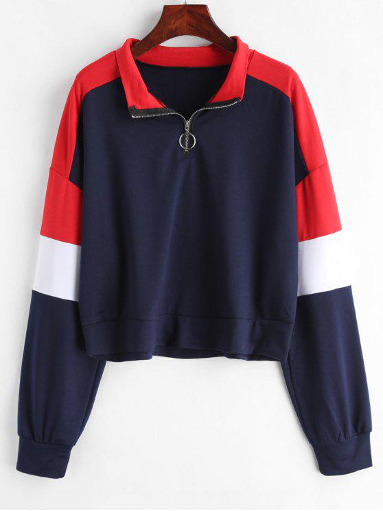 fashion Loose Color Block Half Zip Sweatshirt - MULTI XL