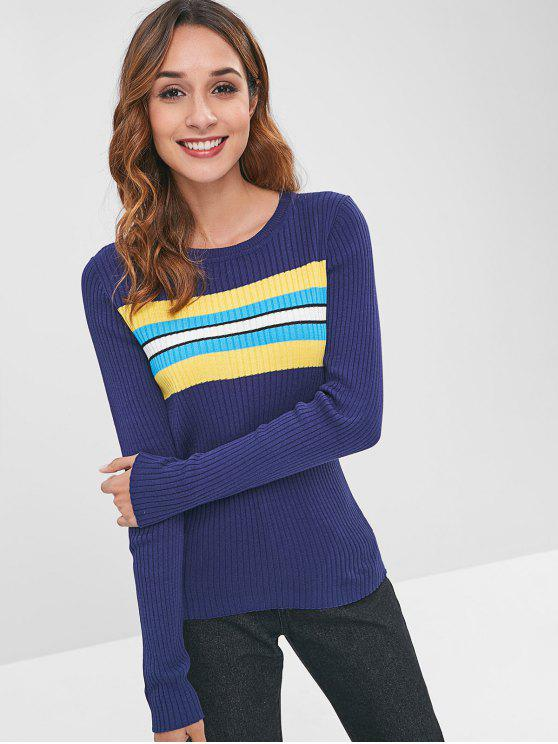lady ZAFUL Stripes Panel Ribbed Sweater - DEEP BLUE L