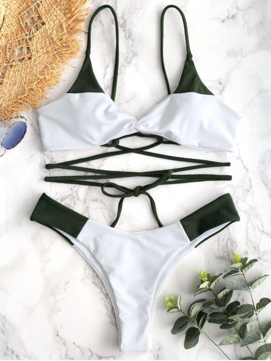 fancy ZAFUL Lace-up Twist Two Tone Bikini Set - HAZEL GREEN L