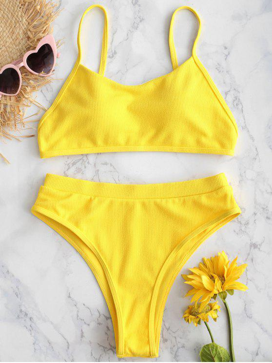 shops ZAFUL Ribbed High Waisted Cami Bikini Set - BRIGHT YELLOW L