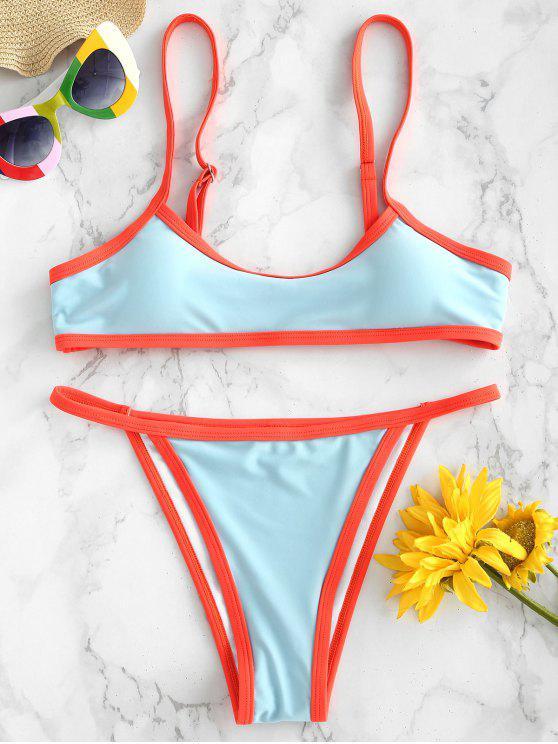 ZAFUL Bikini Sans Armature à Bordure Contrastée - Bleu Oeuf de Robin M