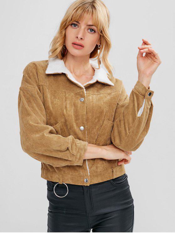 chic Corduroy Snap Button Sheepskin Jacket - DARK GOLDENROD ONE SIZE