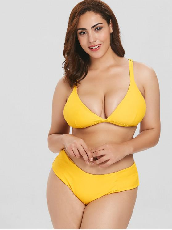 womens ZAFUL Plunging Padded Plus Size Bikini Set - BRIGHT YELLOW 1X