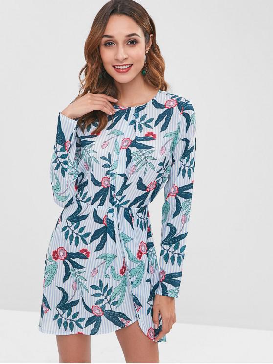 unique ZAFUL Striped Flower Tulip Dress - MACAW BLUE GREEN M