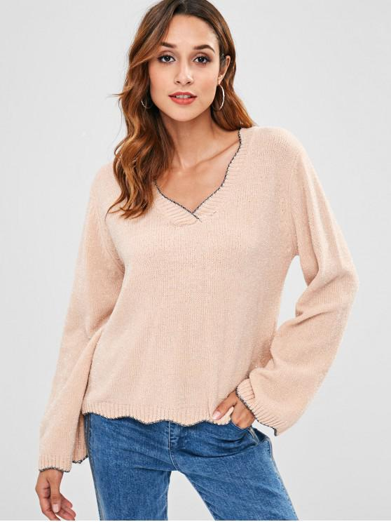 lady ZAFUL Scalloped Hem V Neck Shining Sweater - PINK ONE SIZE