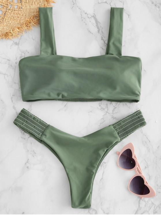 trendy ZAFUL Smocked Panel High Leg Bikini Set - CAMOUFLAGE GREEN M