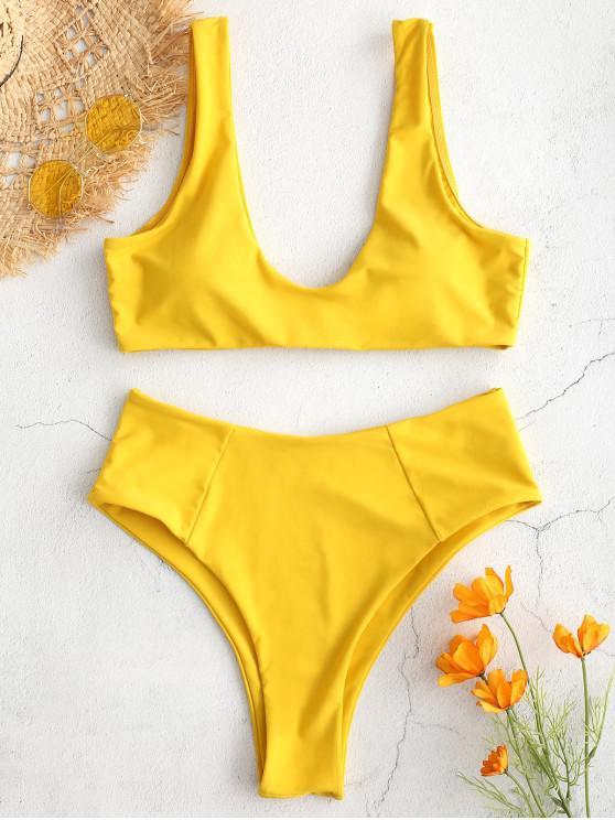 unique ZAFUL High Waisted Scoop Bikini Set - GOLDEN BROWN S