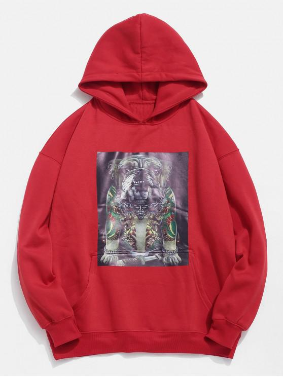 outfit Funny Dog Pockets Fleece Hoodie - LAVA RED M
