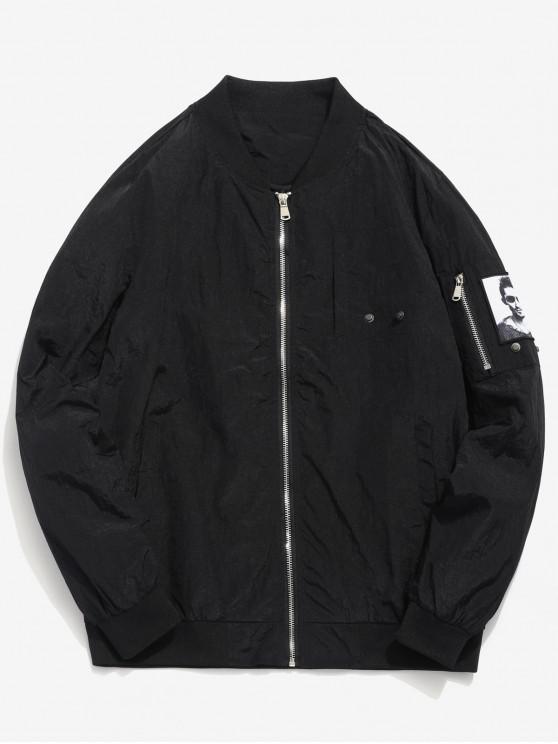 online Pockets Patch Waterproof Bomber Jacket - BLACK M