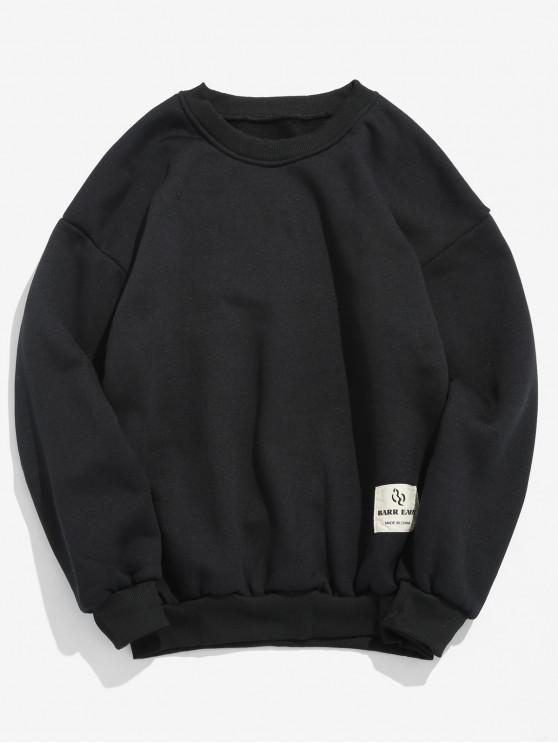 latest Patch Detail Solid Fleece Sweatshirt - BLACK XS
