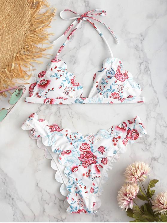 ZAFUL Conjunto de Bikini Festoneado de Halter de Flores - Blanco S