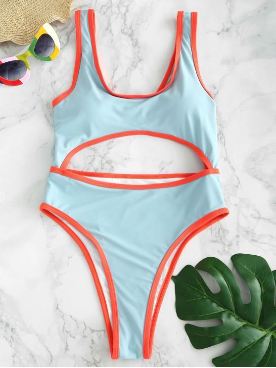 ladies ZAFUL Cutout Twist High Cut Swimsuit - ROBIN EGG BLUE L