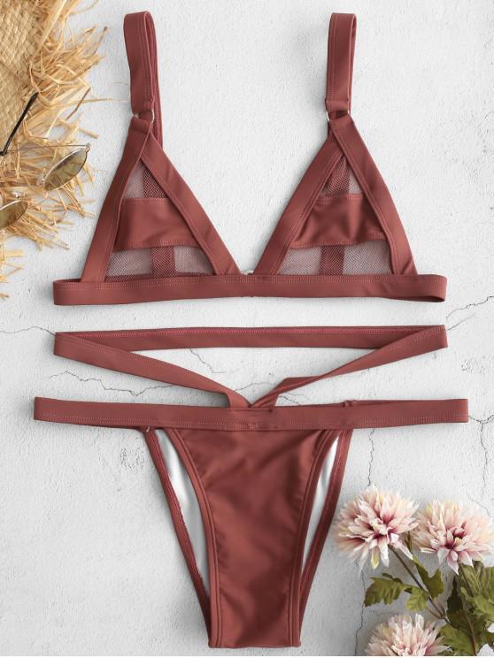 affordable ZAFUL Mesh Panel Bandage Bikini - ROSY BROWN L
