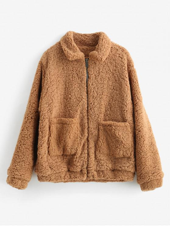 ladies Fluffy Faux Fur Winter Teddy Coat - TIGER ORANGE 2XL