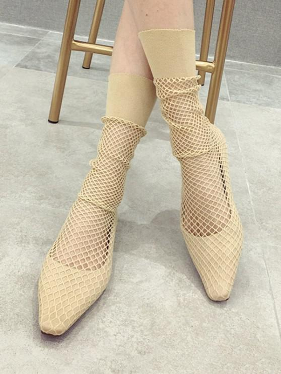 trendy Square Toe Sheer Mid Calf Flat Sock Boots - APRICOT EU 38