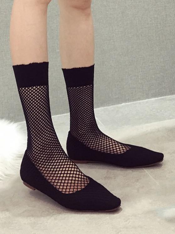 hot Square Toe Sheer Mid Calf Flat Sock Boots - BLACK EU 36
