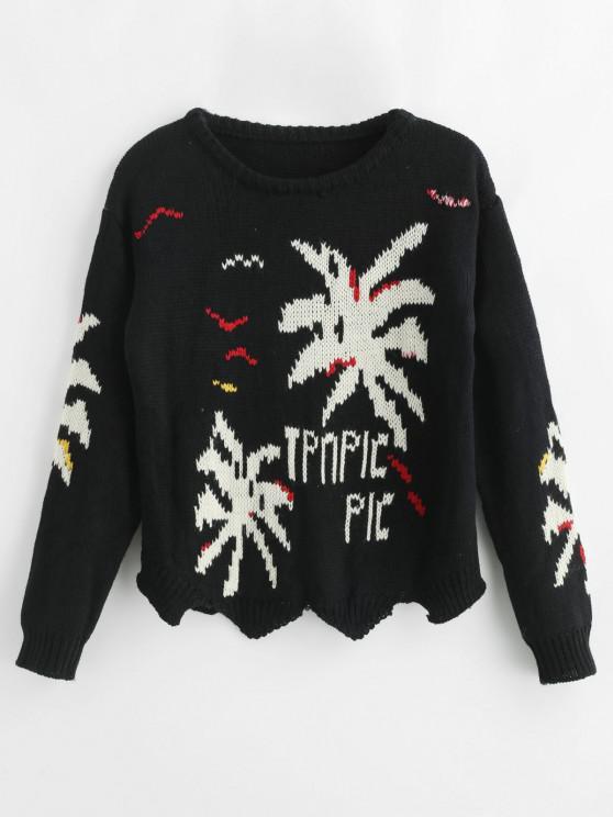 Suéter de letras gota hombro - Negro Talla única