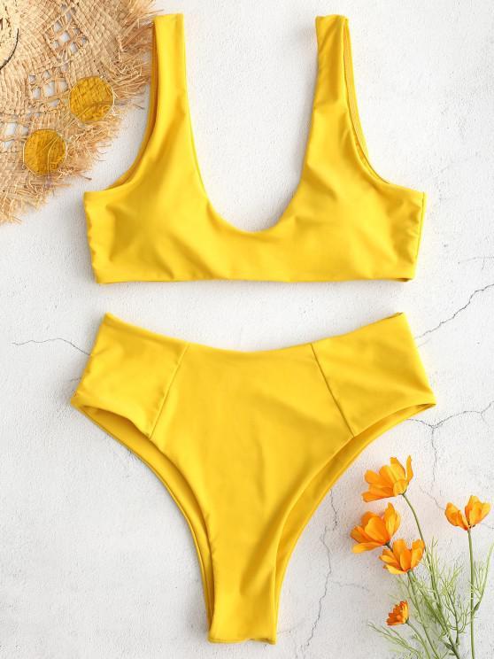 fancy ZAFUL High Waisted Scoop Bikini Set - GOLDEN BROWN M