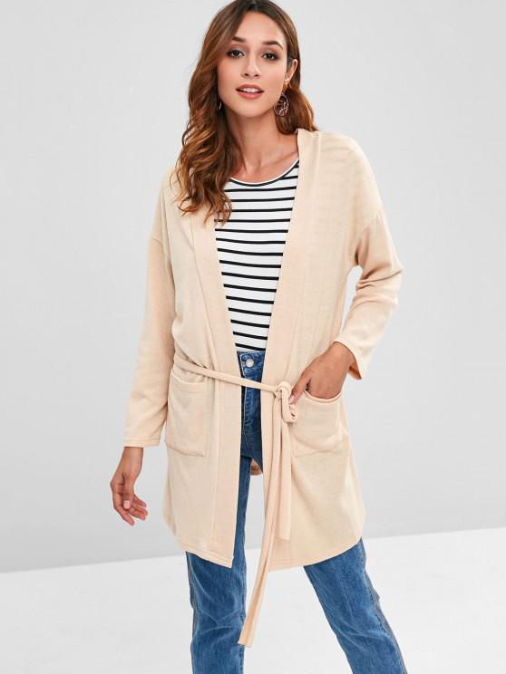 new Two Pocket Belted Open Front Cardigan - APRICOT S