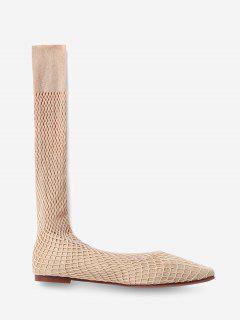 Chaussures Plates à Bout Carré En Résille En Daim - Abricot Eu 38