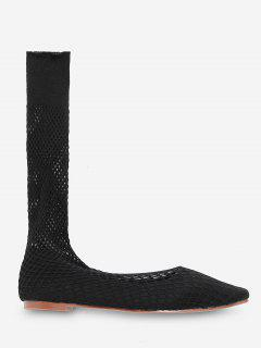 Square Toe Fish Net Suede Flats - Black Eu 38