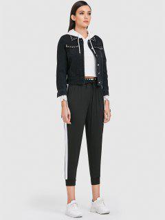 Side Stripe Jogger Tracksuit Pants - Black L