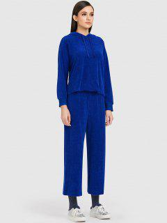 ZAFUL Sports Toweling Hoodie And Pants Set - Blue S