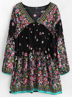 Border Print Long Sleeve Smock Dress - Black M