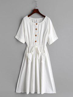 Half Buttoned Knotted Midi Dress - White Xl