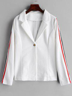 One Button Stripes Trim Blazer - White M