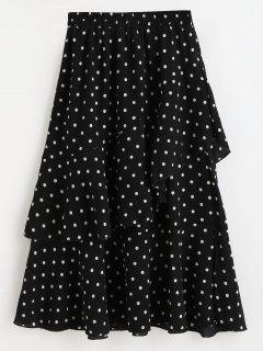 Polka Dot Asymmetrical Ruffle Midi Skirt - Black L