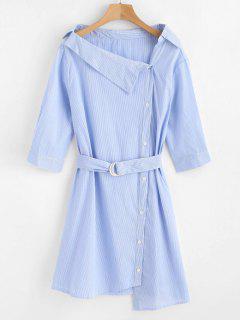 Striped Button Up Asymmetric Shirt Dress - Light Sky Blue