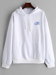 Letter Embroidered Drop Shoulder Hoodie - White L