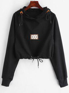 Raglan Sleeve Number Crop Hoodie - Black L