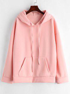 Drop Shoulder Kangaroo Pocket Hoodie - Pig Pink M
