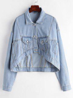 High Low Pocket Denim Jacket - Jeans Blue