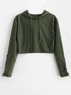 Lace Up Sleeve Cropped Pullover Hoodie - Army Green L