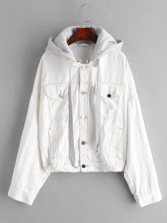 Drop Shoulder Pocket Hooded Jacket - White M