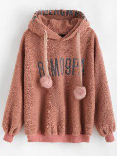 Pompom Drawstring Faux Fur Hoodie - Orange Salmon